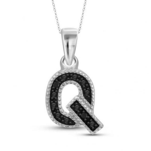 "wedding photo - Black Diamond Accent ""Q"" Initial Pendant"