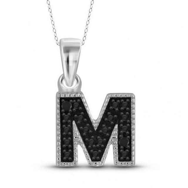 "wedding photo - Accent ""M"" Initial Black Diamond 0.6ct Pendant White Gold"