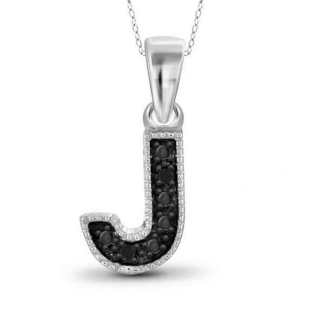 "wedding photo - Black Diamond ""J"" Initial Pendant 0.3ct In White Gold"
