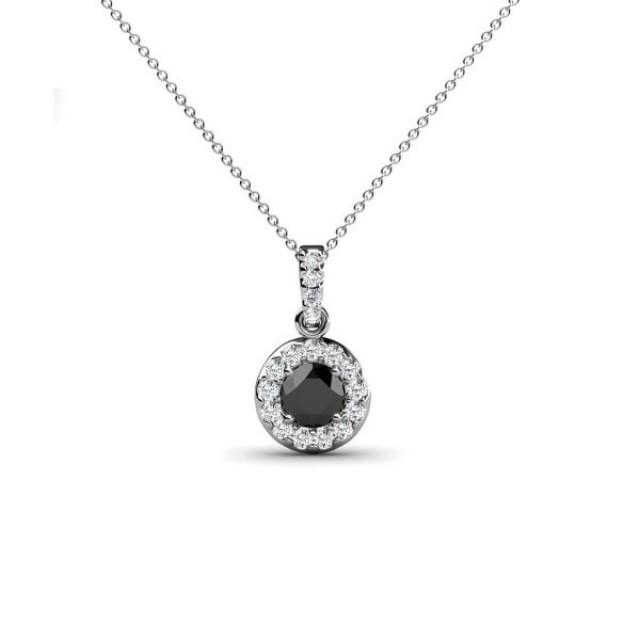 wedding photo - 1.2 Carat Black And White Diamond Halo Pendant In 14K Gold