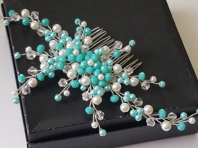 wedding photo - Mint Aqua White Bridal Hair Comb, Wedding Teal Turquoise Headpiece, Aqua White Silver Pearl Hair Piece, Mint Hair Jewelry, Mint Floral Comb