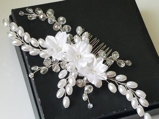 wedding photo - Pearl Crystal Bridal Hair Comb, White Pearl Hair Piece, Wedding Headpiece, Pearl Crystal Hairpiece, Bridal Hair Jewelry, Pearl Floral Comb