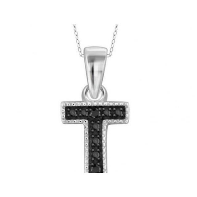 "wedding photo - 0.3ct Accent ""T"" Initial Black Diamond Pendant In White Gold"