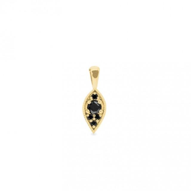 wedding photo - Gold Leaf Black Diamonds 0.25ct Pendant Necklace