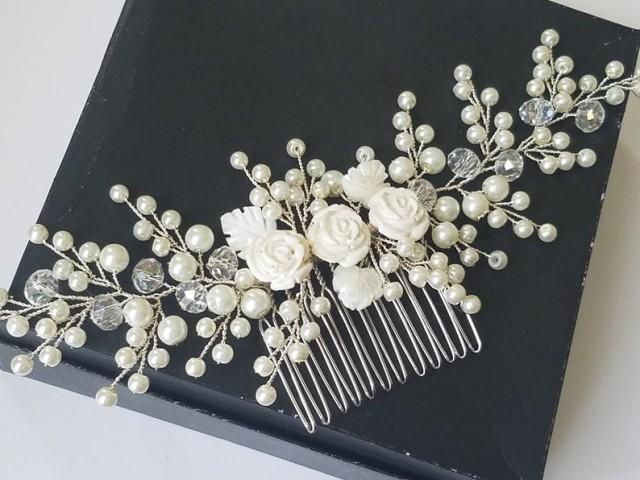 wedding photo - Pearl Bridal Hair Comb, Wedding Ivory Pearl Headpiece, Pearl Floral Hairpiece, Pearl Hair Piece, Pearl Bridal Hair Jewelry, Hair Accessories