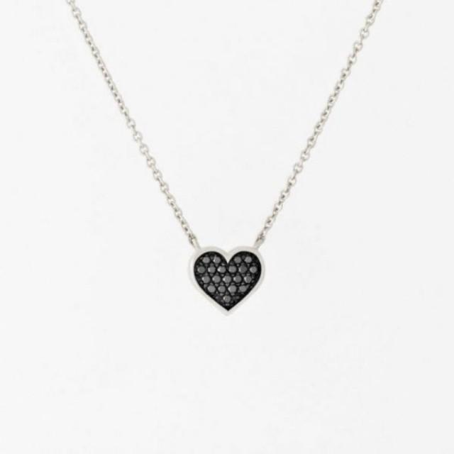 wedding photo - 14K White Gold Black Diamond Micro Pave Heart Necklace