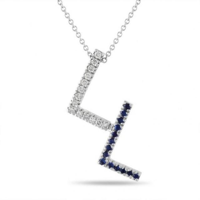 wedding photo - 0.53 Carat Diamond And Sapphire Initial Pendant Necklace