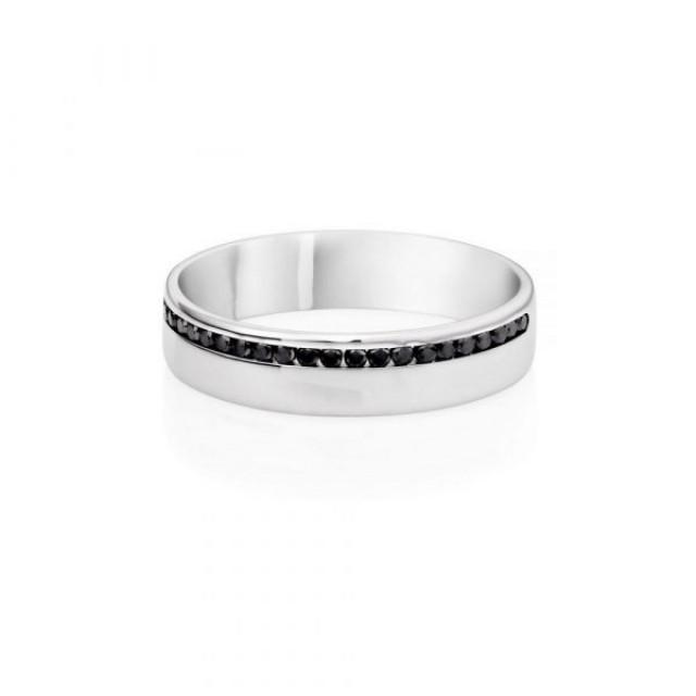 wedding photo - 0.20 Ct Black Diamonds Male Wedding Ring In 14k White Gold