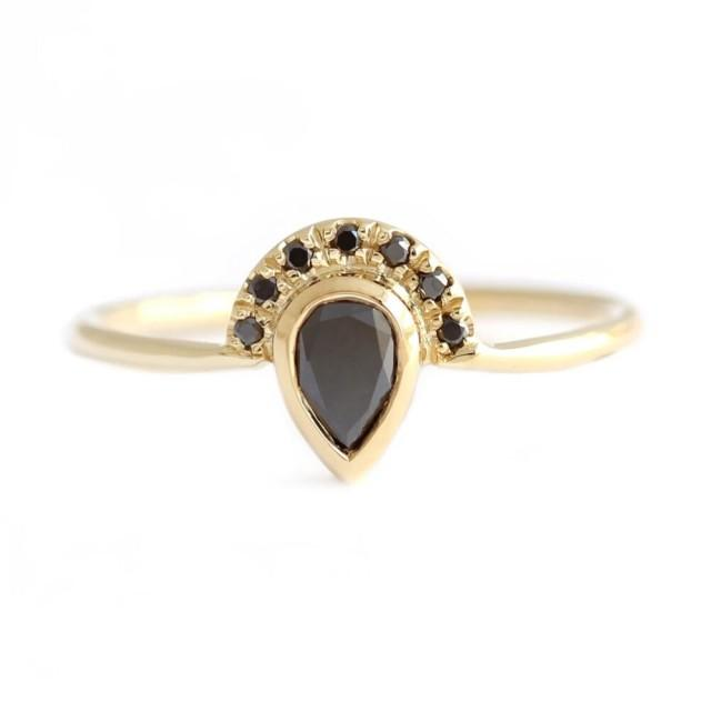 wedding photo - 1 Ct Pear Cut Black Diamond Half Halo Engagement Ring In Yellow Gold