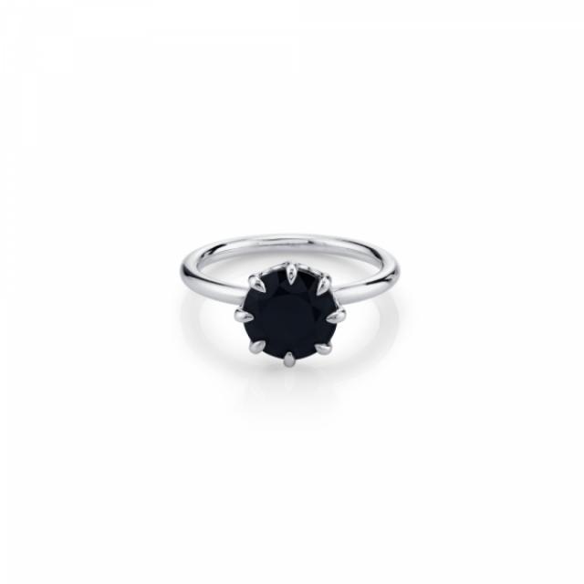 wedding photo - 2 Carat Round Black Diamond Solitaire Engagement Ring