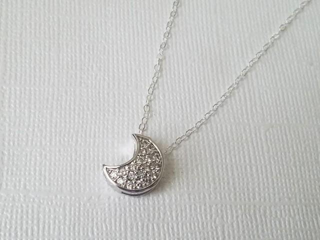 wedding photo - Crescent Moon Cubic Zirconia Necklace, Moon Silver Necklace, Celestial Necklace, Crescent Moon Charm Bridal Necklace, Moon Pendant