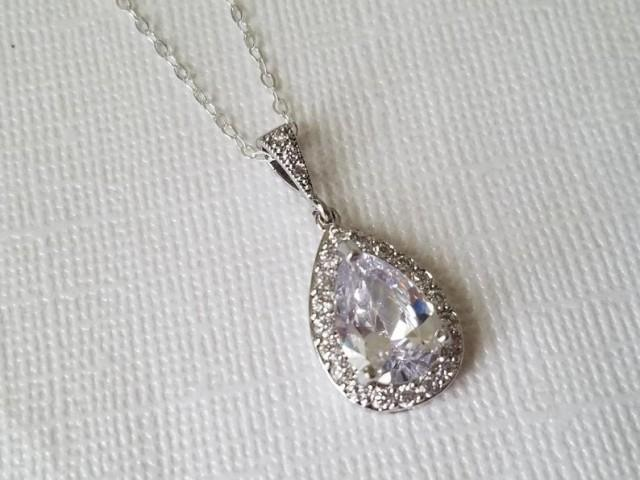 wedding photo - Crystal Teardrop Wedding Necklace, Cubic Zirconia Halo Bridal Necklace, Clear Crystal Silver Pendant, Sparkly Bridal Pendant, Bridal Jewelry