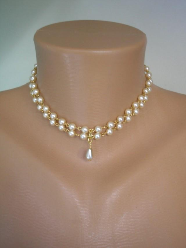 wedding photo - 2 Strand Pearl Choker, Two Strand Pearls, Choice of Colours, Pearl Necklace, White Pearl Choker, Cream Pearls, Bridal Jewelry