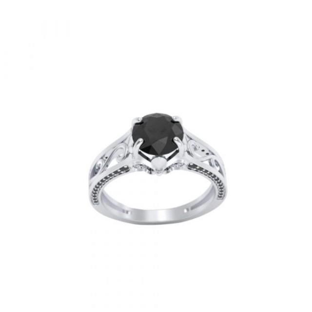 wedding photo - Good-Looking 2.50 Ct Engagement Rings With Black Diamonds On The Side