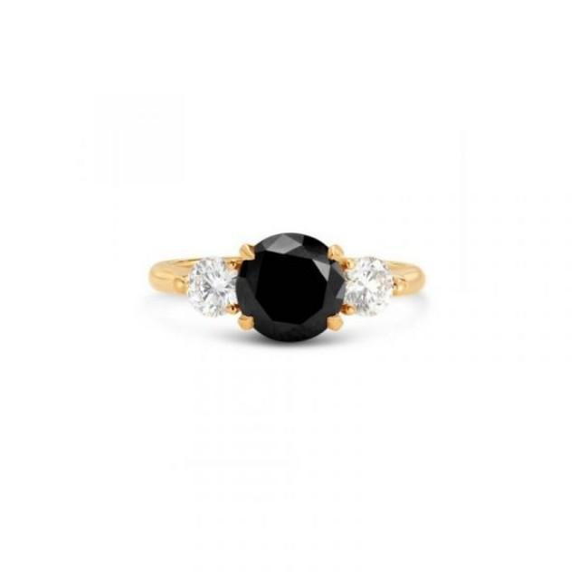 wedding photo - 2 Carat Natural Black White Diamond Engagement Ring