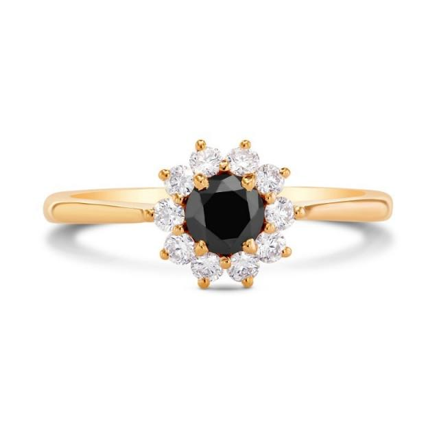 wedding photo - 0.50 Carat Black Diamond Cluster Ring In Yellow Gold