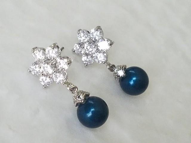 wedding photo - Peacock Pearl Silver Earrings, Swarovski Petrol Pearl Drop Wedding Earrings, Dark Teal Pearl CZ Flower Earrings, Wedding Peacock Jewelry