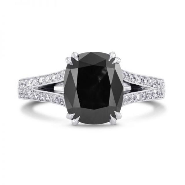 wedding photo - 2 Carat Elongated Cushion Cut Engagement Ring Split Shank Engagement Ring