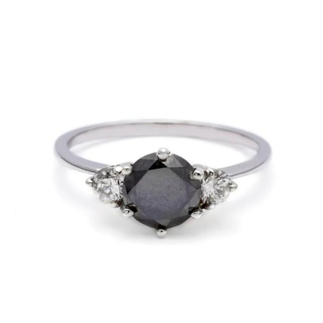 wedding photo - 1 Ct 3 Stone Black Diamond Ring In White Gold