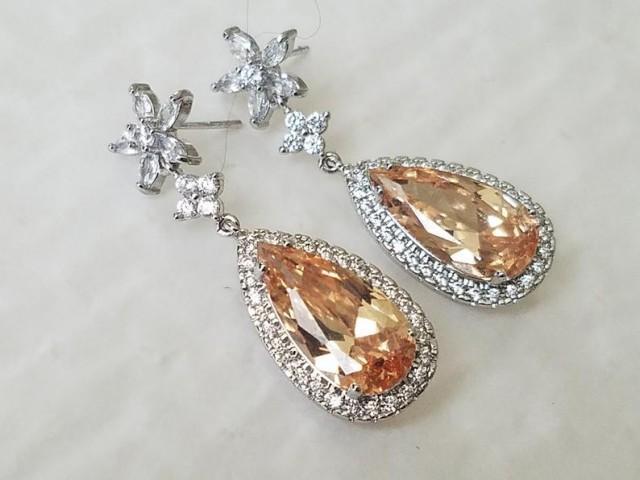 wedding photo - Champagne Crystal Bridal Earrings, Champagne CZ Silver Teardrop Earrings, Light Peach Dangle Wedding Earrings, Statement Wedding Earrings