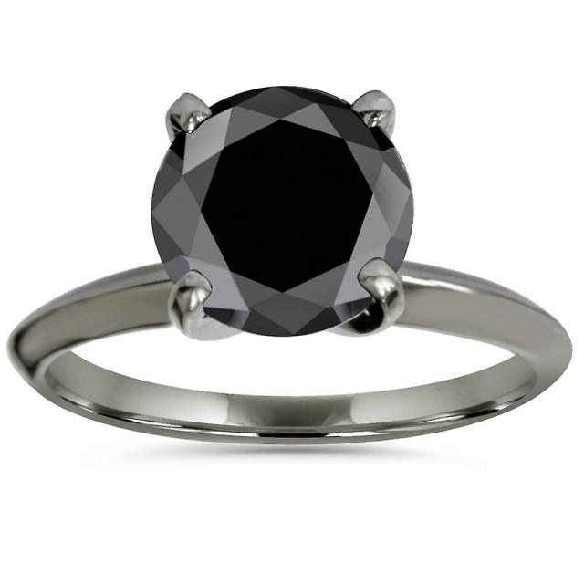 wedding photo - Gorgeous 2 Carat Black Diamond Black Ring In Solitaire Style