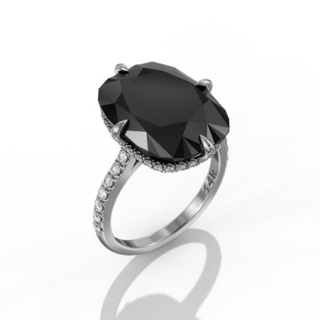 wedding photo - Best-Looking Big 10 Carat Black Diamond Ring
