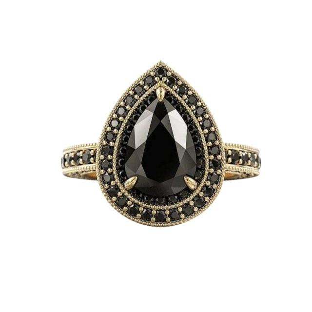 wedding photo - 2 Ct Pear Cut Diamond Ring With Black Diamond Halo