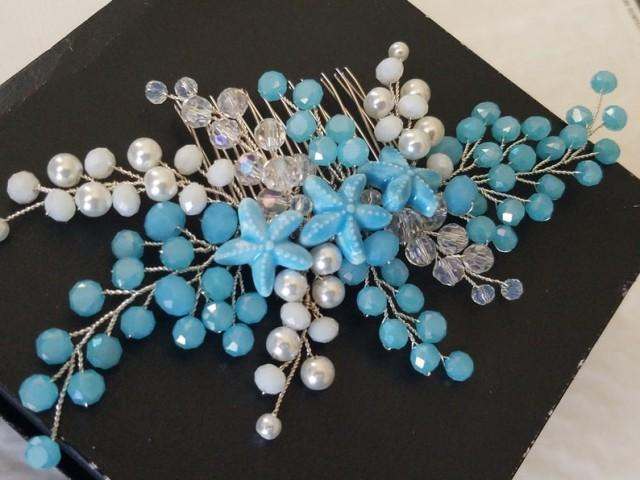 wedding photo - Blue Starfish Bridal Hair Comb, Wedding Sea Star Hair Piece, Aqua Blue Mermaid Headpiece, Beach Wedding Hair Piece, Starfish Hair Jewelry