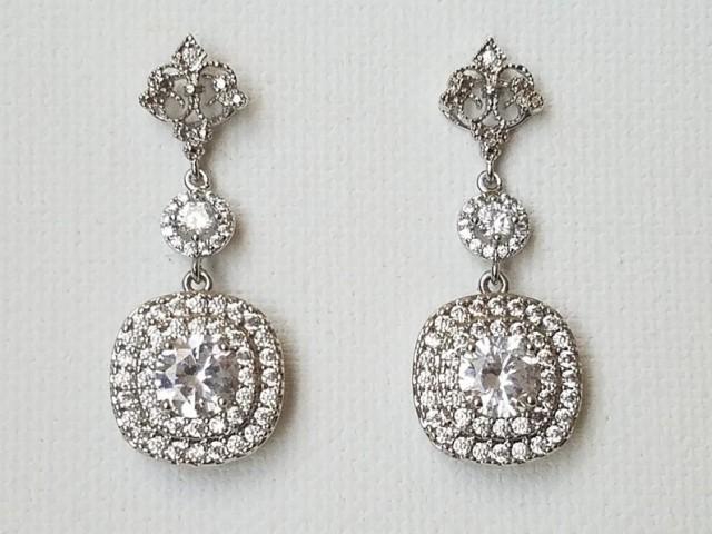 wedding photo - Crystal Halo Bridal Earrings, Wedding Cubic Zirconia Earrings, Crystal Square Silver Dangle Earrings, Cubic Zirconia Bridal Wedding Jewelry