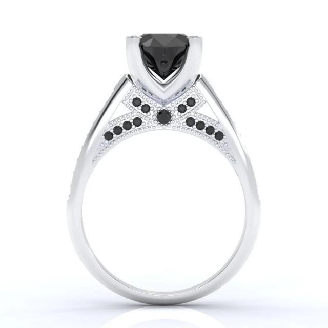 wedding photo - 2 Carat 10k White Gold Black Diamond Ring