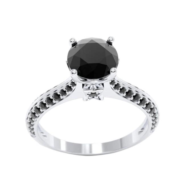 wedding photo - Beautiful 2.5 Carat Black Diamond Ring In 14k White Gold