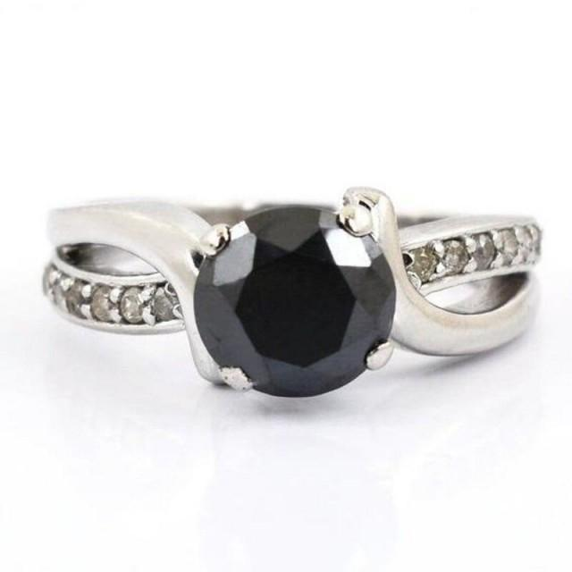 wedding photo - 2 Carat Black Diamond Solitaire Ring With Accents