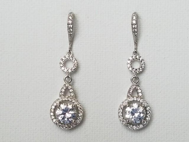 wedding photo - Crystal Bridal Earrings, Wedding Cubic Zirconia Halo Earrings, Wedding Chandelier Crystal Earrings, Zirconia Silver Round Bridal Earrings,