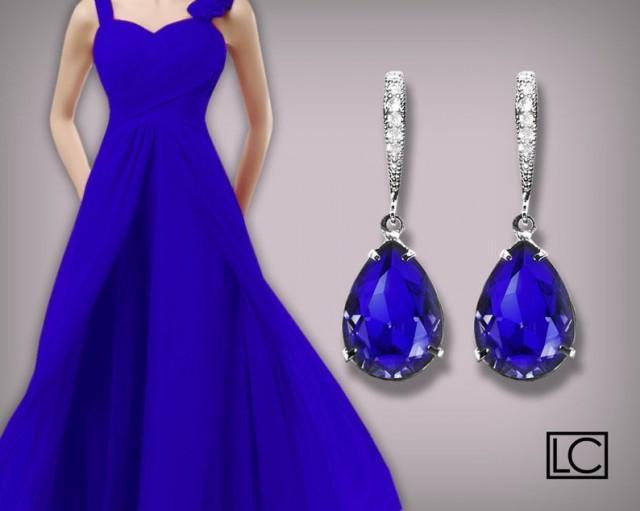 wedding photo - Blue Crystal Earrings, Swarovski Majestic Blue Teardrop Earrings, Cobalt Silver Earrings, Sapphire Bridesmaid Jewelry, Royal Blue Earrings