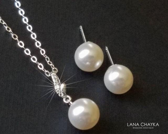 wedding photo - Pearl Sterling Silver Bridal Jewelry Set, Swarovski 8mm White Pearl Dainty Pearl Set, Wedding Pearl Jewelry Set, Bridal Bridesmaids Jewelry