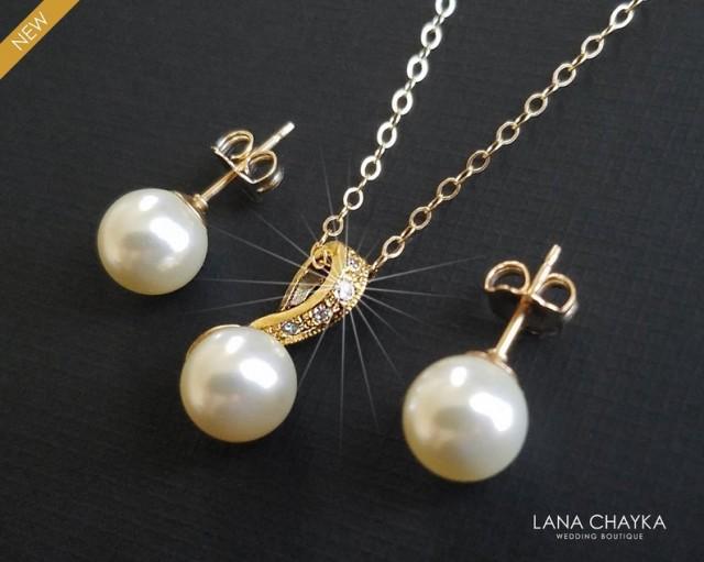 wedding photo - Pearl Gold Bridal Jewelry Set, Wedding Earrings&Necklace Set, Swarovski Ivory Pearl Gold Set, Bridal Jewelry, Wedding Jewelry, Prom Jewelry
