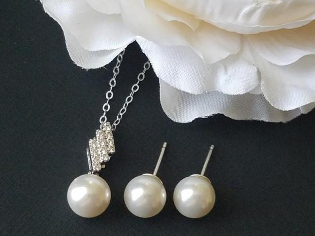 wedding photo - Pearl Sterling Silver Jewelry Set, Swarovski White 8mm Pearl Earrings&Necklace Set, Wedding Pearl Necklace, Pearl Studs, Bridal Jewelry Set