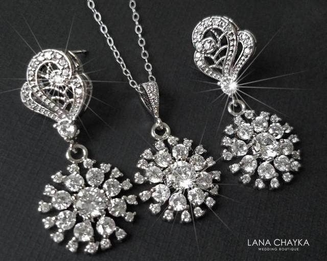wedding photo - Crystal Bridal Jewelry Set, Cubic Zirconia Earrings Necklace Set, Wedding Crystal Jewelry, Zirconia Earrings, Crystal Pendant Bridal Jewelry