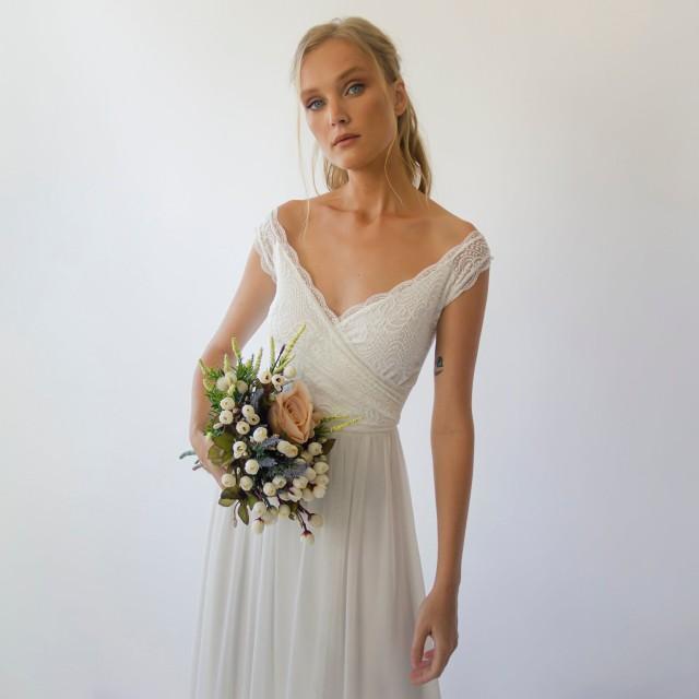 Ivory Off the shoulder short sleeves wrap wedding dress #1302