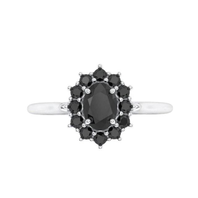 2 Carat Oval Cut Black Diamond Engagement Ring In Halo Style