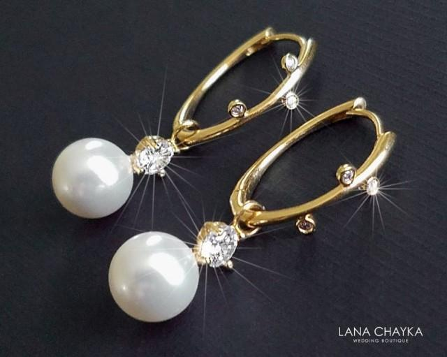 wedding photo - White Pearl Gold Earrings, Swarovski Pearl Gold Leverbacks, Bridal Pearl Drop Earrings, Wedding White Pearl Jewelry, Bridal Pearl Jewelry