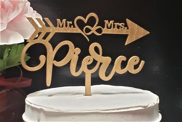 Custom Wedding Cake topper, Mr and Mrs Cake topper, Last name Cake topper, Gold wedding cake topper, Silver Wedding Cake Topper