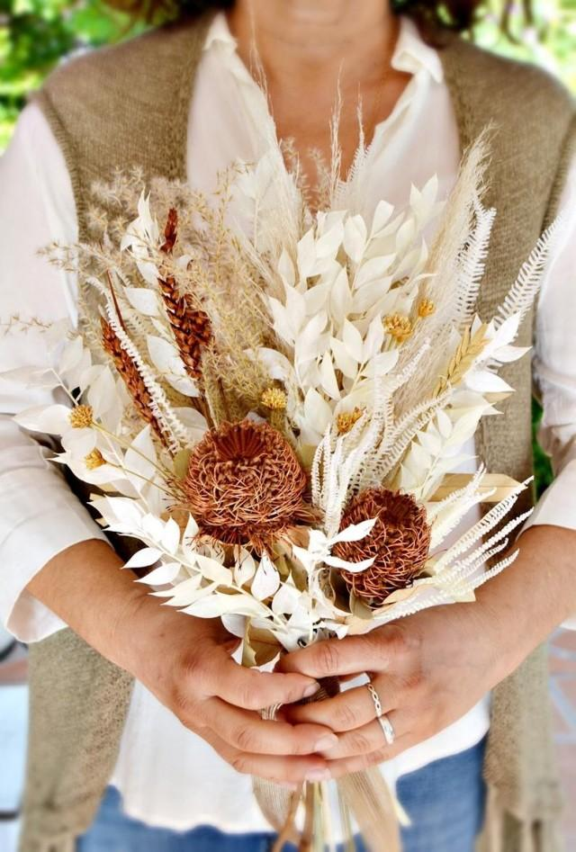 wedding photo - Dry Flowers Boho Wedding Bouquet/ Pampas Grass Bride Bouquet/ Bleached Banksia & Palm Arrangement/ Burnt Orange Natural Tones Bouquet