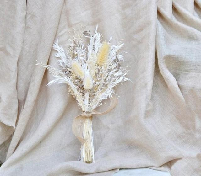 wedding photo - Gold and White Dried Flower Bouquet/ Metallic Dry Flower Wedding Bouquet/ Dry Thistle Flower Arrangement/ Champagne gold Bride Bouquet.
