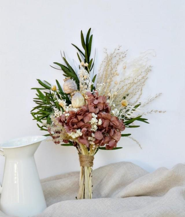 wedding photo - Red Garnet Bouquet/ Pampas Dry Flowers Bouquet/ Preserved Eucalyptus Bouquet/ Home Decor Flowers Arrangement/ Dried Flowers Centerpiece.