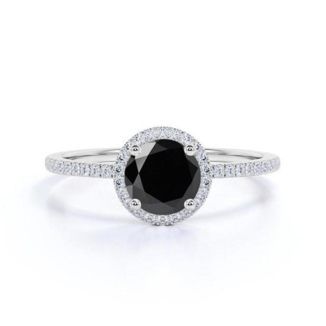 wedding photo - 1.50 Carat Black Diamond White Gold Halo Ring For Engagement