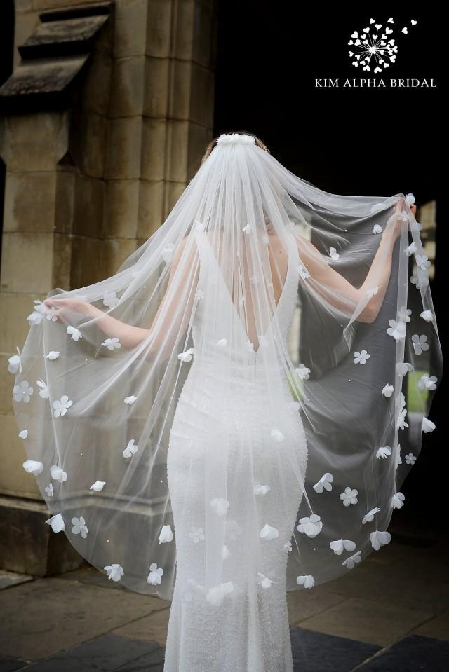 AURORA veil, floral veil, flower veil, fingertip veil, glitter veil, sparkle veil, bridal veil, wedding veil, custom veil