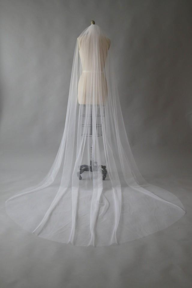 wedding photo - CLAUDE, Sheer simple one tier veil, cathedral veil, white veil, custom veil, Made in Australia.