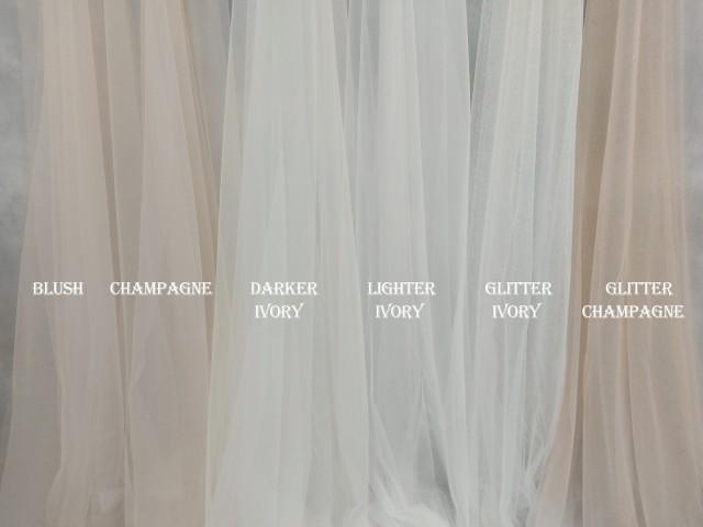 Bridal veil tulle samples, Glitter tulle, Light ivory tulle, Ivory tulle, Champagne tulle