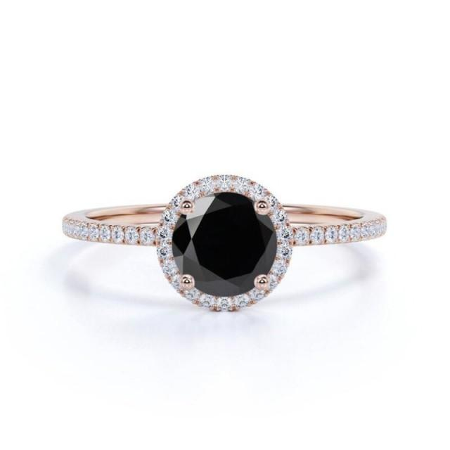 wedding photo - 1.50 Carat Rose Gold Black Diamond Halo Ring For Engagement